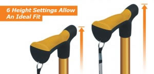 Hugo Folding Cane's 6 Height Settings Allow An Ideal Fit