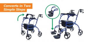 Hugo Navigator Rolling Walker Transport Chair, Converts in Two Simple Steps
