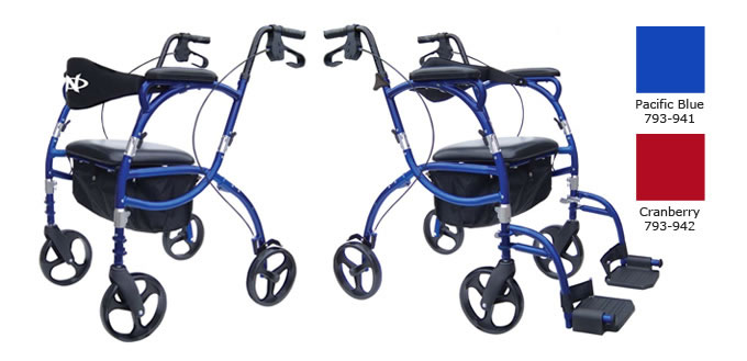 Hugo Navigator Rolling Walker Transport Chair, Pacific Blue or Cranberry