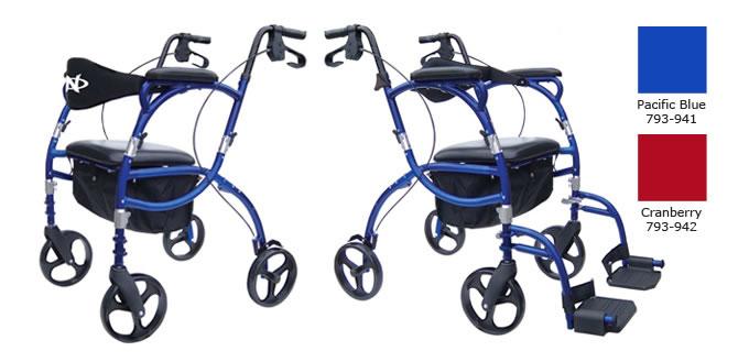 Hugo Navigator Rolling Walker Transport Chair, Pacific Blue or Cranberry