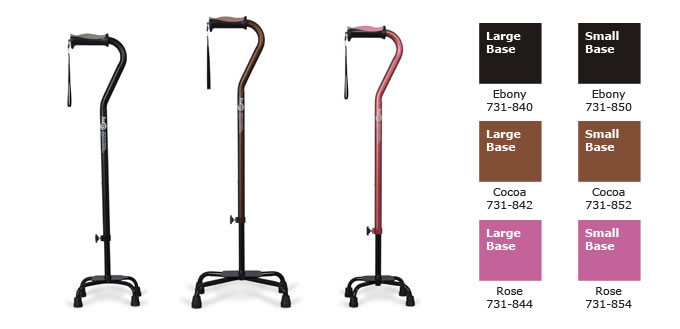 Hugo Quad Cane, with large or small base, cane colors: Ebony, Cocoa and Rose