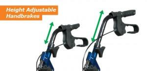 Hugo Switch Rolling Walker Transport Chair, Height Adjustable Hand Brakes