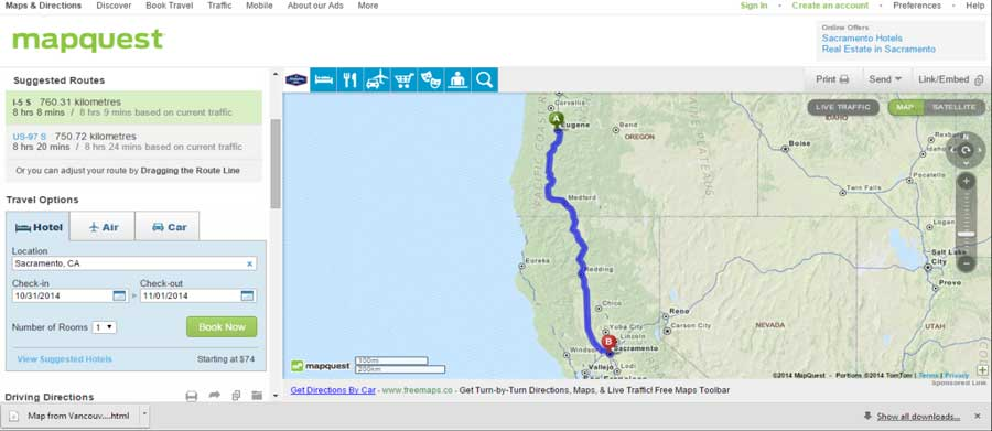 map of route from Eugene, OR to Sacramento, CA