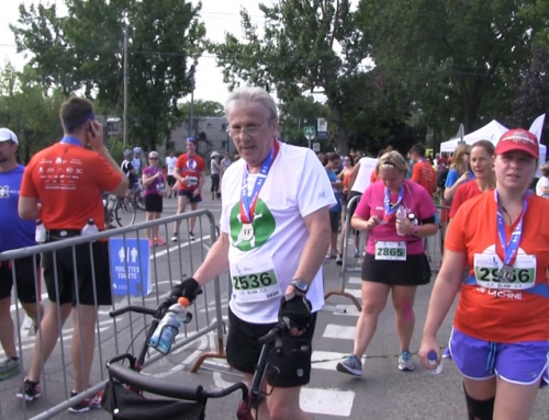 Bob speed walks 10 KM at Lachine Half Marathon
