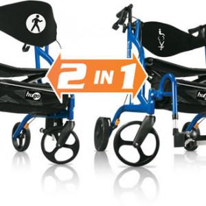 The 2 in 1 Hugo® Navigator™: Side-Folding Rolling Walker and Transport Chair