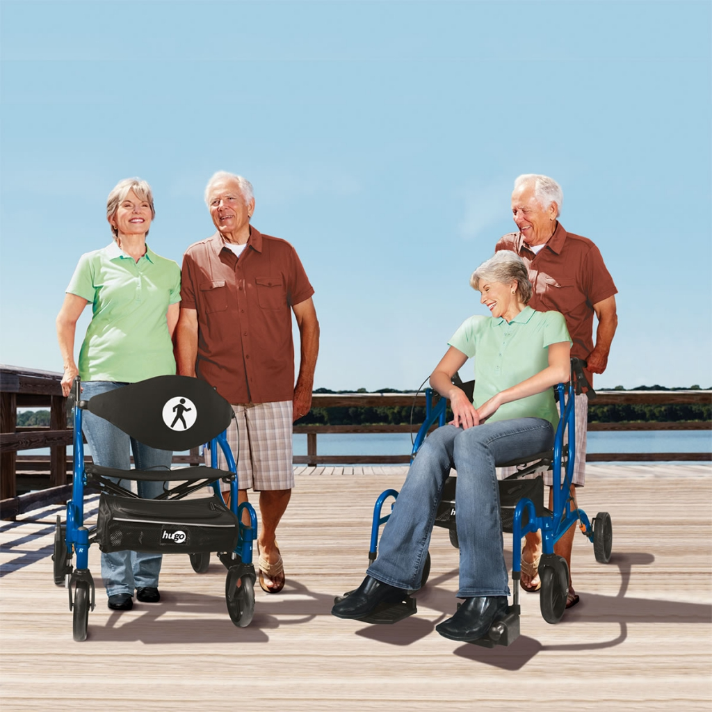 The 2 in 1 Hugo® Navigator™: Side-Folding Rollator and Transport Chair